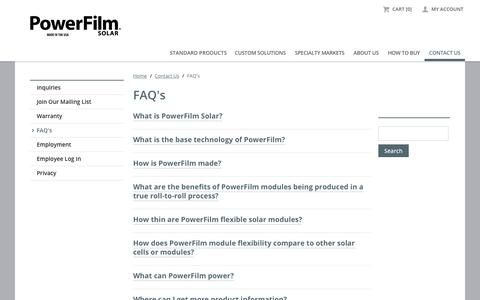 Screenshot of FAQ Page powerfilmsolar.com - FAQ's   PowerFilm Solar Inc. - captured Sept. 23, 2018