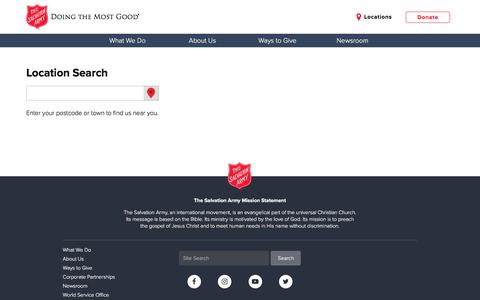 Screenshot of Locations Page salvationarmyusa.org - Location Search - The Salvation Army USA - captured Feb. 9, 2018