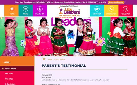 Screenshot of Testimonials Page littleleaders.in - Little leaders - captured May 23, 2018