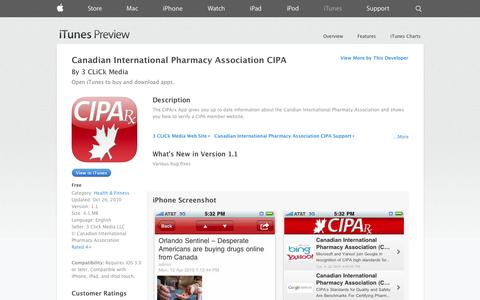 Screenshot of iOS App Page apple.com - Canadian International Pharmacy Association CIPA on the App Store on iTunes - captured Oct. 22, 2014
