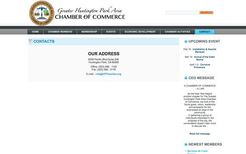 Screenshot of Contact Page Locations Page hpchamber.org - The Greater Huntington Park Area Chamber of Commerce - Contact - The Greater Huntington Park Area Chamber of Commerce - captured Feb. 15, 2016