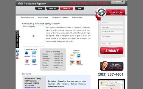 Screenshot of Contact Page velainsures.com - Vela Insurance - - captured Oct. 7, 2014