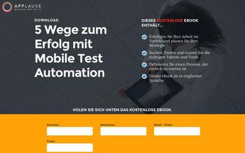 Screenshot of Landing Page applause.com - 5 Wege zum Erfolg mit Mobile Test Automation - captured March 22, 2016