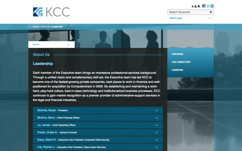 Screenshot of Team Page kccllc.com - Kurtzman Carson Consultants › Leadership ‹ About Us - captured Sept. 19, 2014