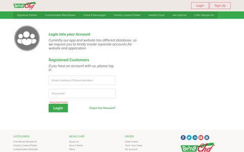 Screenshot of Login Page beingchef.com - BeingChef - Customer Login - captured June 1, 2017