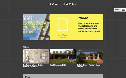 Screenshot of Press Page facit-homes.com - Media - Facit Homes - captured Nov. 3, 2014