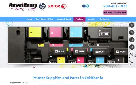Screenshot of Products Page americompgroup.com - Printer Supplies & Parts | Alta Loma, CA | Americomp Group - captured Oct. 8, 2017