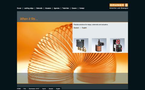 Screenshot of Home Page gruner.de - When it fits… - captured Oct. 3, 2014