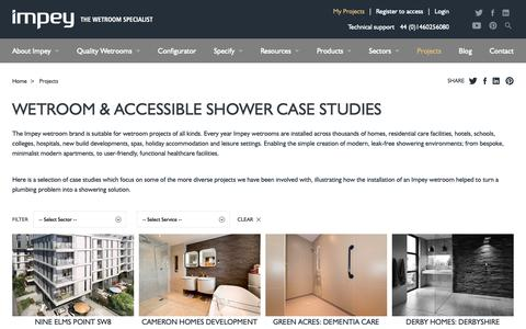 Screenshot of Case Studies Page impeyshowers.com - Wetroom & Accessible Shower Case Studies   | Impey, The Wetroom Specialist - captured Nov. 22, 2018