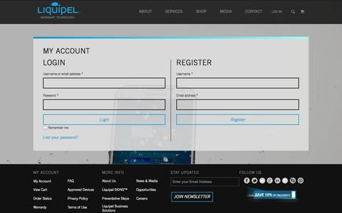 Screenshot of Login Page liquipel.com - My Account - Liquipel - captured Oct. 28, 2014