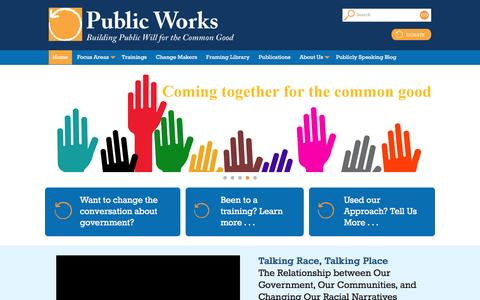 Screenshot of Home Page publicworks.org - Public Works - Building public will for the common good - captured Dec. 14, 2015