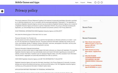 Screenshot of Privacy Page thedigitalists.net - Privacy policy - Mobile Games and AppsMobile Games and Apps - captured Feb. 18, 2017