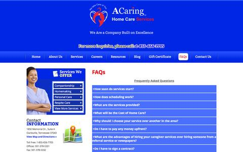 Screenshot of FAQ Page acaringhomecareclarksville.com - A Caring Home Care Services Đ Non-Medical Home Care in Clarksville, Tennessee - FAQs - captured Jan. 15, 2016