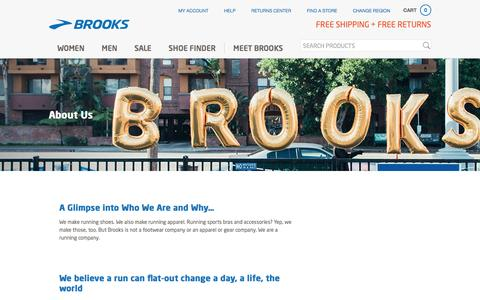 Screenshot of About Page brooksrunning.com - About Us - captured Feb. 3, 2017