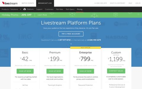 Screenshot of Pricing Page livestream.com - Livestream | Plans & Pricing - captured Dec. 21, 2015