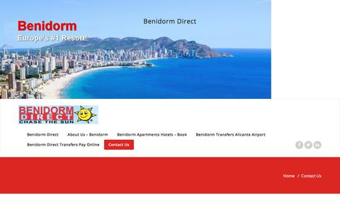Screenshot of Contact Page benidormdirect.com - Benidorm Hotels Transfers Groups   | Benidorm Direct - captured Aug. 1, 2018