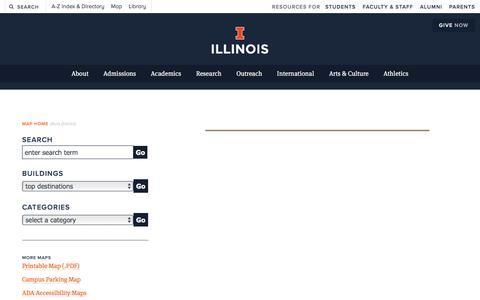 Screenshot of Maps & Directions Page illinois.edu - Campus Map  | ILLINOIS - captured Nov. 22, 2017