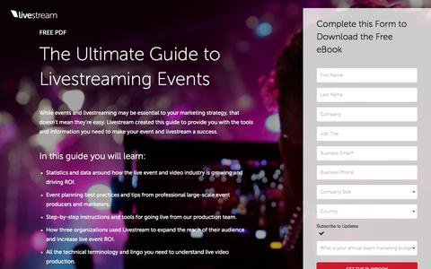 Screenshot of Landing Page livestream.com - Livestream Template | Video Version A - captured Feb. 6, 2017
