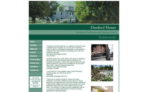 Screenshot of Testimonials Page dunfordhouse.org.uk - Dunford House Conference & Training Centre - Testimonials - captured Oct. 27, 2014