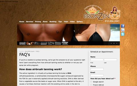Screenshot of FAQ Page bronzenaustin.com - Spray Tanning Facts, Spray Tanning FAQ - BronZEN Austin Tanning | BronZEN Austin - captured Oct. 5, 2014