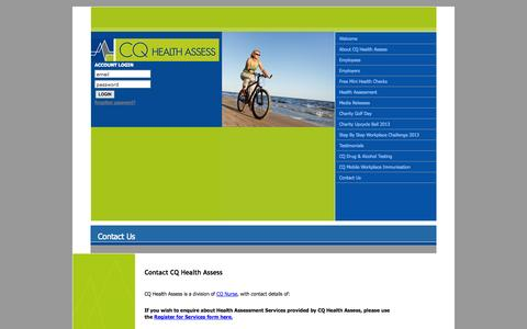 Screenshot of Contact Page cqhealthassess.com.au - Contact Us at CQ Health Assess - captured Sept. 26, 2014