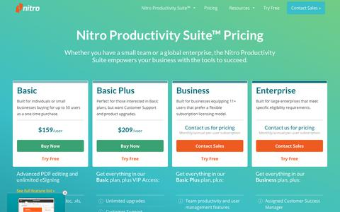 Screenshot of Pricing Page gonitro.com - Nitro Pricing | PDF Editor & Electronic Signature - captured May 17, 2019