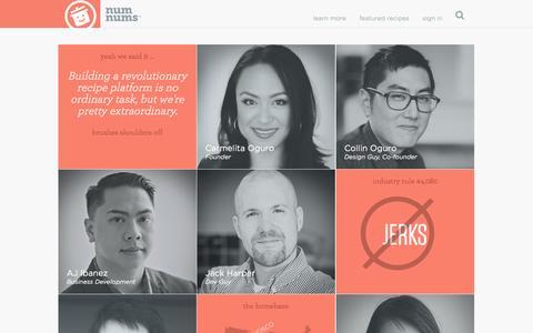 Screenshot of Team Page numnums.com - the awesome team at numnums.com - captured Sept. 30, 2014
