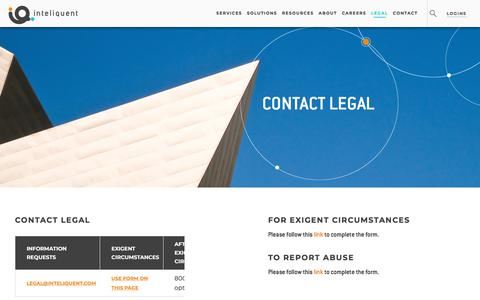 Screenshot of Terms Page inteliquent.com - Inteliquent | Legal - captured July 10, 2019