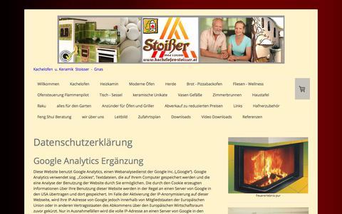 Screenshot of Privacy Page kachelofen-stoisser.at - Datenschutz - Kachelofen Stoisser Gnas - Kamine Herde - captured Oct. 16, 2017