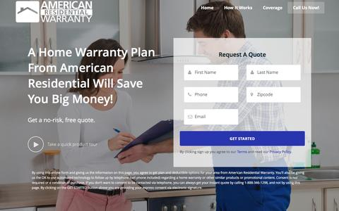 Screenshot of Home Page arwhome.com - American Residential Warranty, Your Home Warranty Provider! - captured Jan. 27, 2017