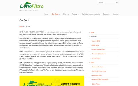 Screenshot of Team Page lenofilter.com - China filter manufacture, China auto filter factories,suppliers and exporters | Leno Filter-Auto Filter Manufacture China - captured Nov. 6, 2016