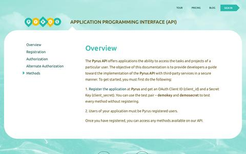 Screenshot of Developers Page pyrus.com - Application Programming Interface (API) - Pyrus - captured Oct. 3, 2014
