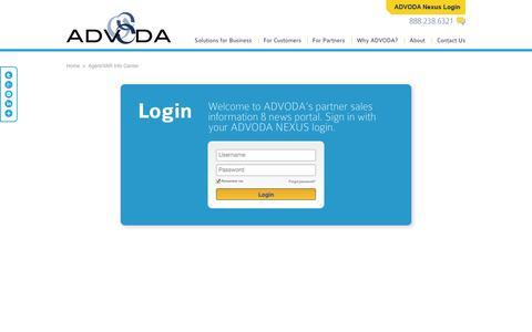 Screenshot of Login Page advoda.com - Telecom Agents | Managed Services VARs - captured Sept. 30, 2014