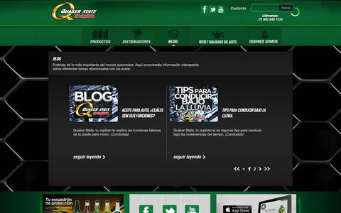 Screenshot of Blog quakerstate.com.mx - Blog » Página 1 - Quaker State - captured Oct. 28, 2014