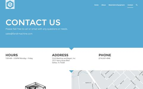 Screenshot of Contact Page fandrmachine.com - F&R Machine Inc. |   Contact - captured Feb. 4, 2016