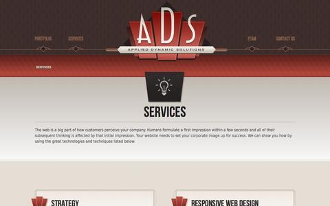 Screenshot of Services Page ads-llc.com - Applied Dynamic Solutions, LLC - captured Oct. 4, 2014