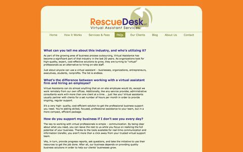 Screenshot of FAQ Page rescuedeskva.com - FAQs | Rescue Desk - captured Oct. 26, 2014