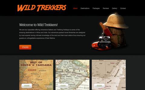 Screenshot of About Page wildtrekkers.com - WildTrekkers - Adventure Safaris and Trekking Holidays Specialist - captured Oct. 7, 2014