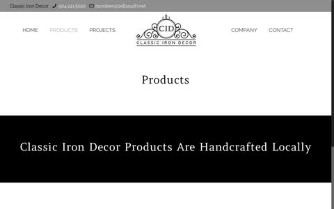 Screenshot of Products Page classicirondecor.com - Products – Classic Iron Decor - captured Sept. 28, 2018