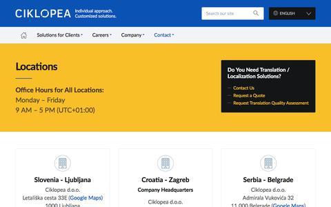 Screenshot of Locations Page ciklopea.com - Locations - Ciklopea - captured July 14, 2018