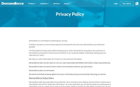 Screenshot of Privacy Page demandforce.com - Privacy Policy – DemandForce - captured July 19, 2018