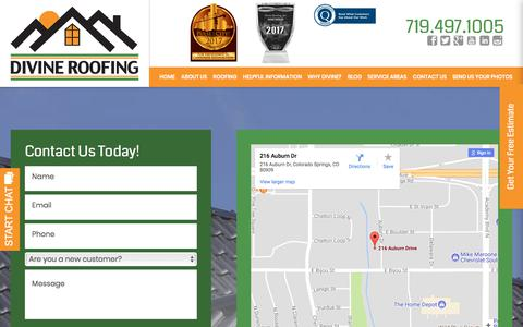 Screenshot of Contact Page divineroofinginc.com - Contact Us | Roofing Service in Colorado Springs - captured Jan. 13, 2018