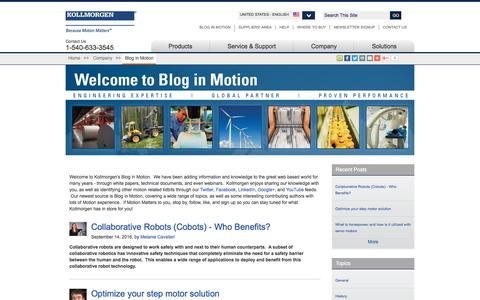 Screenshot of Blog kollmorgen.com - Blog in Motion | Kollmorgen - captured Nov. 27, 2016