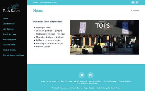 Screenshot of Hours Page topssalon.com - Hours | Tops Salon - captured Feb. 23, 2016