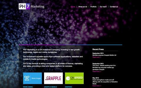 Screenshot of Home Page ph7marketing.com - PH7 Marketing | Home - Creative Investment - captured Sept. 27, 2014