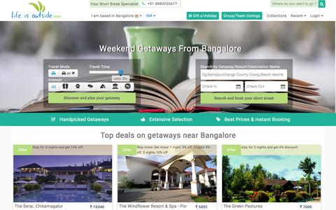 Screenshot of Home Page lifeisoutside.com - Weekend Getaways from Bangalore,Places around Bangalore - captured Jan. 29, 2016