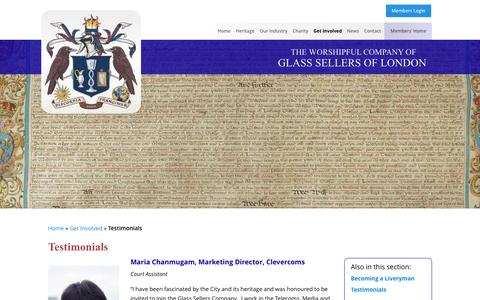 Screenshot of Testimonials Page glass-sellers.co.uk - Testimonials - The Worshipful Company of Glass Sellers of London - captured Feb. 24, 2016