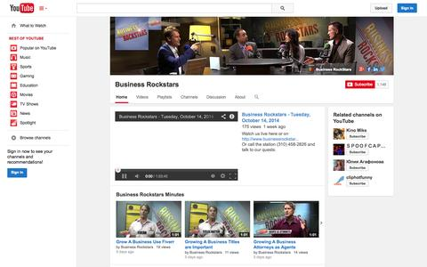 Screenshot of YouTube Page youtube.com - Business Rockstars  - YouTube - captured Oct. 23, 2014