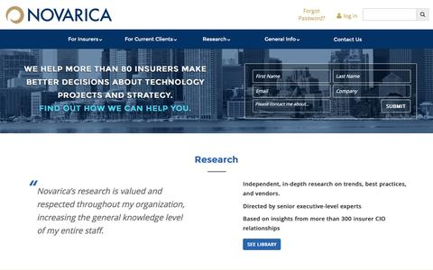 Screenshot of Home Page novarica.com - Novarica Insurance Technology Consulting & Research - captured Aug. 14, 2016
