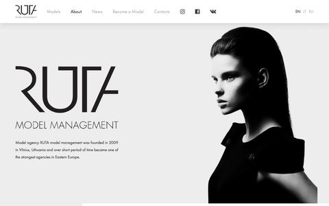 Screenshot of About Page rutamodel.com - About - RUTA model management - captured Oct. 26, 2017